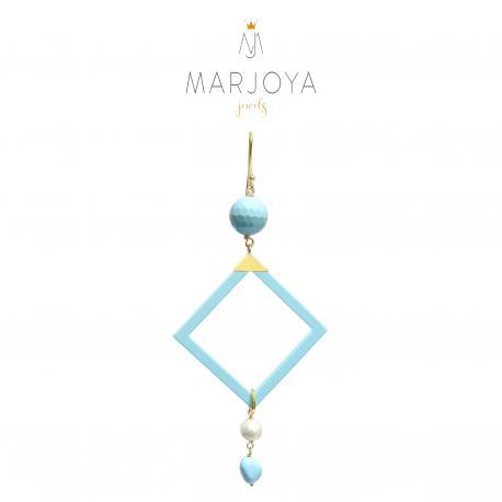 Mono orecchino con turchese, perle e argento dorato