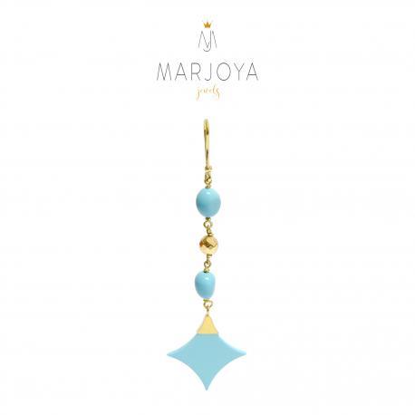 Mono orecchino con stella di turchese, ematite gold e argento dorato