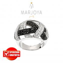 Anello a fascia traforata con zirconi bianchi e neri in argento 925 rodiato