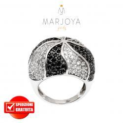 Anello a cupola con onde di zirconi bianchi e neri in argento 925 rodiato