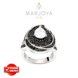Anello in argento 925 con zirconi neri e goccia bianca