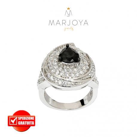Anello in argento 925 con zirconi bianchi e goccia nera