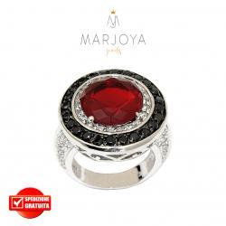 Anello a sigillo tondo in argento 925 con zirconi bianchi, neri e rosso rubino