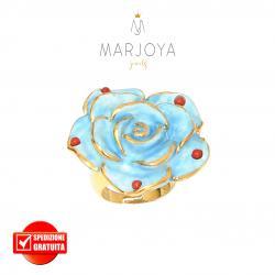 Anello con fiore in ceramica azzurro e corallo in argento 925 dorato