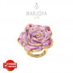 Anello con fiore in ceramica viola e corallo in argento 925 dorato