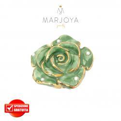 Anello con fiore in ceramica verde e perle in argento 925 dorato