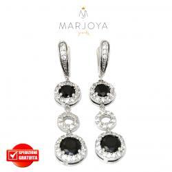 Orecchini pendenti in argento 925 con zirconi bianchi e neri