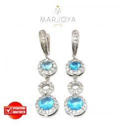 Orecchini pendenti in argento 925 con zirconi bianchi e azzurri