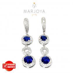 Orecchini pendenti in argento 925 con zirconi bianchi e blu